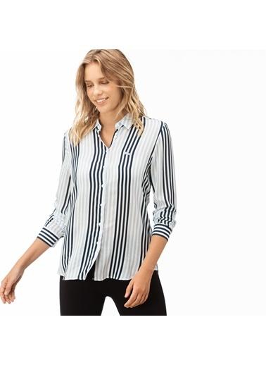 Lacoste Kadın Çizgili Gömlek CF1904.04D Mavi